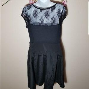 Express Rayon Dress black mini w/ lace vintage